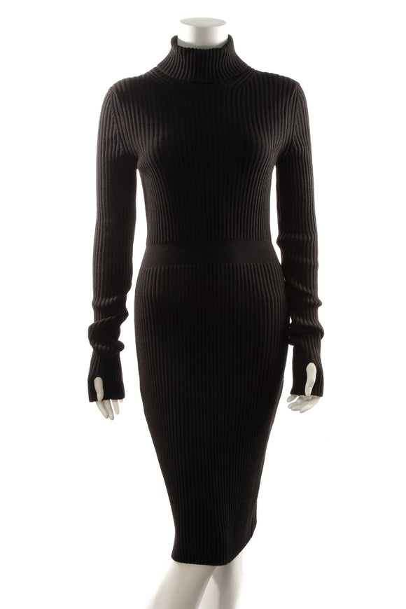 Fendi Knit Turtleneck Sweater Dress - Black Size 42