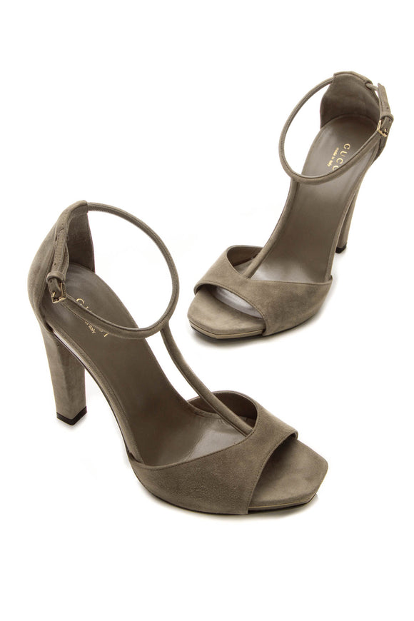 Gucci T-Strap Sandals - Taupe Size 38.5