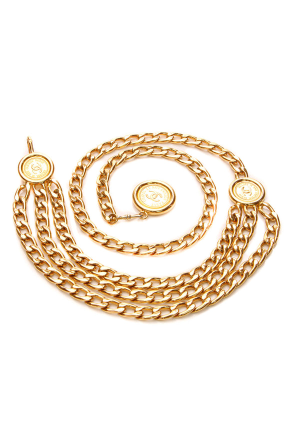 Chanel CC Medallion Chain Belt - Gold