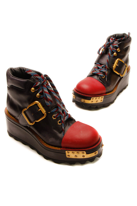 Prada Buckle 60mm Hiking Boots - Black/Scarlet Size 38.5