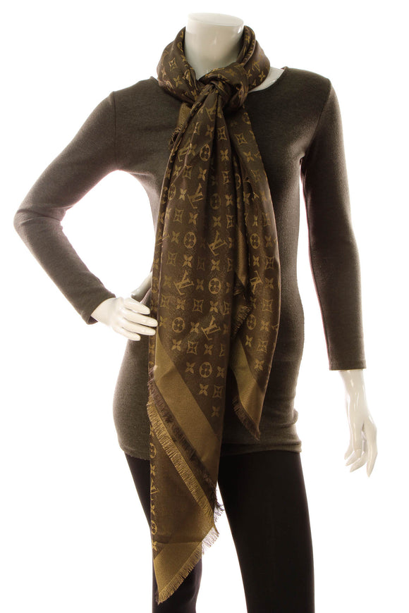 Louis Vuitton Monogram Shine Shawl Scarf - Brown