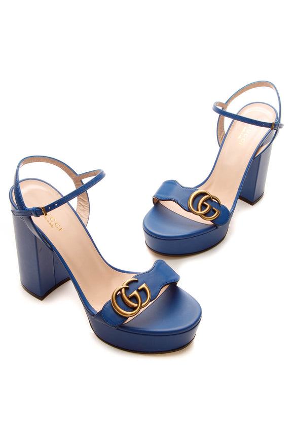 Gucci Double G Platform Sandals - Bright Blue Size 37
