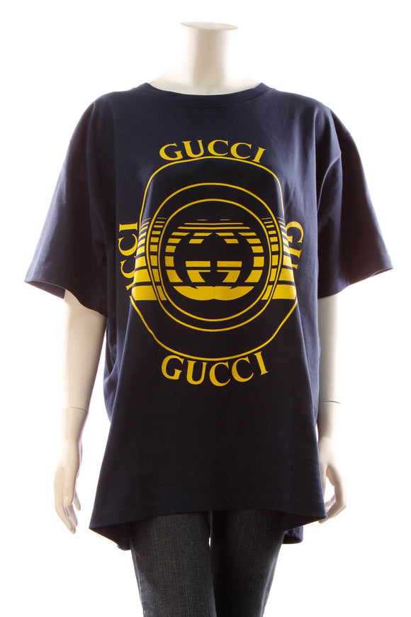 Gucci Disc Print Oversized T-Shirt - Navy Size Extra Large