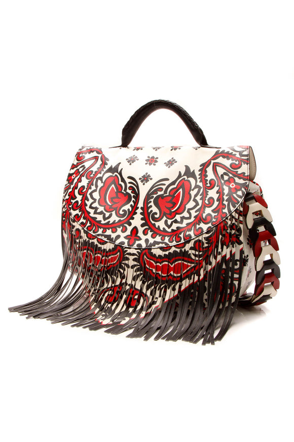 RED Valentino Fringe Printed Shoulder Bag - Multicolor