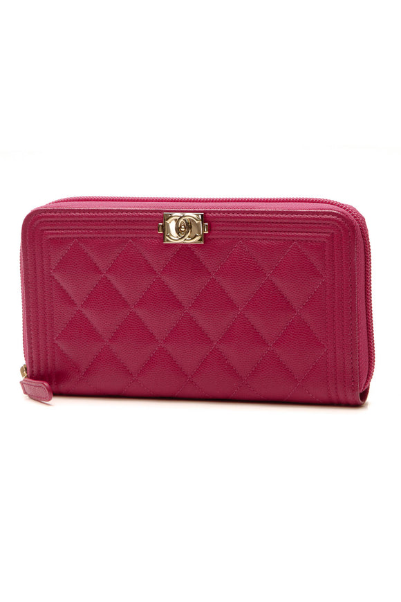 Chanel Boy Zippy Wallet - Pink Caviar