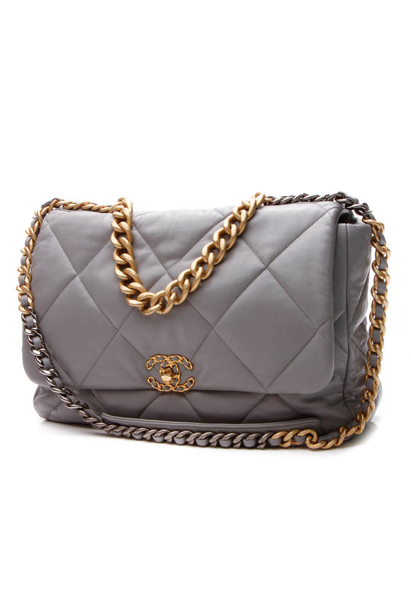 Chanel Quilted 19 Flap Bag - Maxi Gray Goatskin