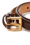 Gucci Skinny Buckle Belt - Dark Brown Microguccissima Size 34