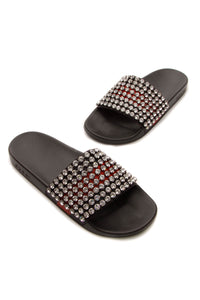 Gucci Crystal Embellished Slide Sandals - Black Size 42