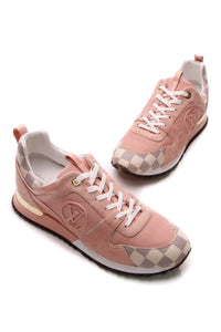 Louis Vuitton Run Away Hidden Heel Sneakers - Pink/Damier Azur Size 41