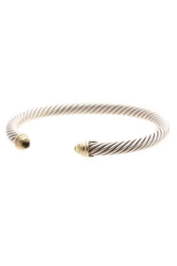 David Yurman 5mm Peridot Cable Classics Bracelet - Silver/Gold