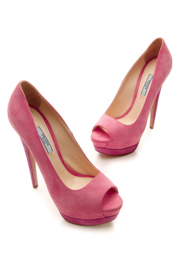 Prada Two-Tone Platform Peep Toe Pumps - Pink Size 38.5