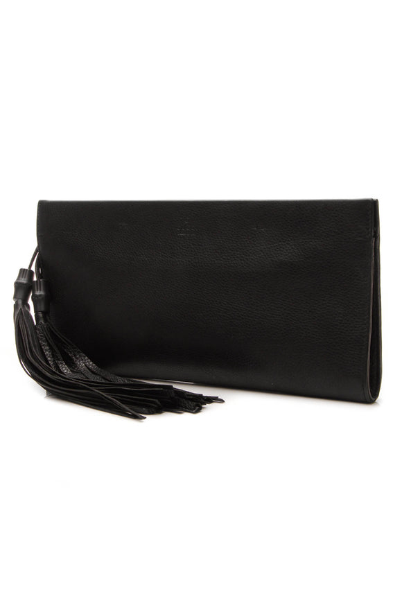 Gucci Nouveau Bamboo Tassel Clutch Bag - Black