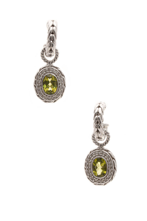 John Hardy Diamond & Tourmaline Batu Mata Earrings - Silver