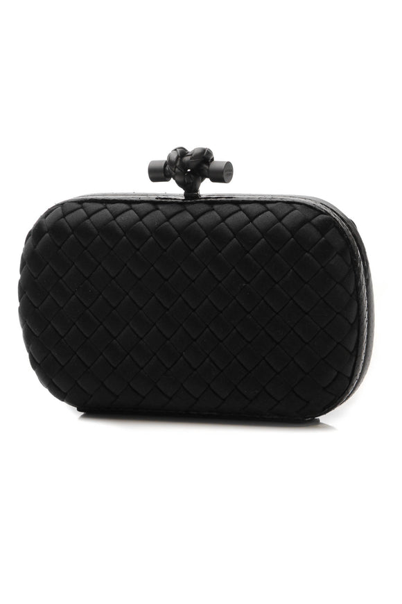 Bottega Veneta Satin & Snakeskin Knot Clutch Bag - Black