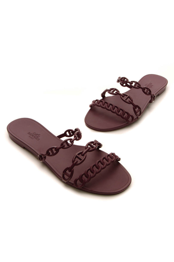 Hermes Chaine d'Ancre Sandals - Burgundy Size 38