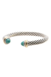 David Yurman 7mm Turquoise Cable Cuff Bracelet -Silver/Gold