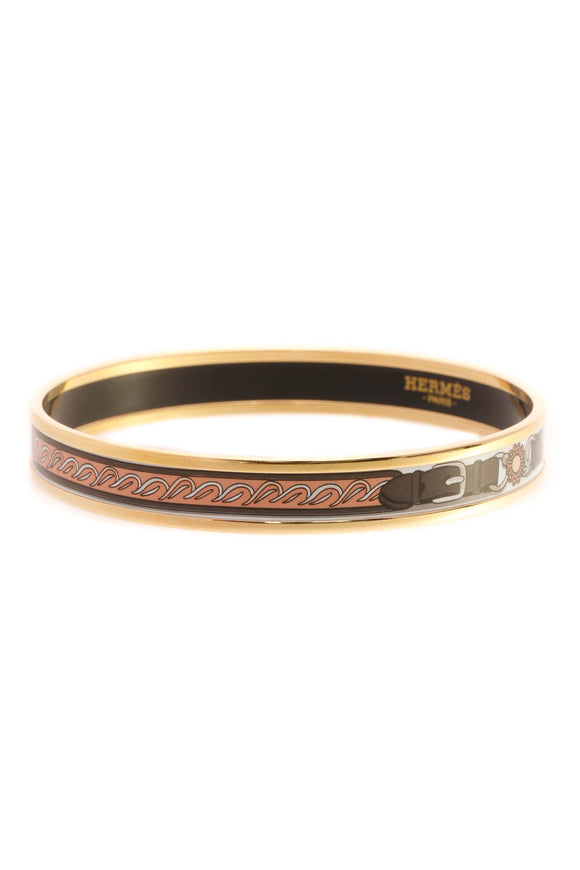 Hermes Belt Printed Narrow Bangle Bracelet - Gold