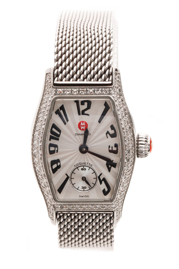 Michele Diamond Coquette Petite Watch - Steel