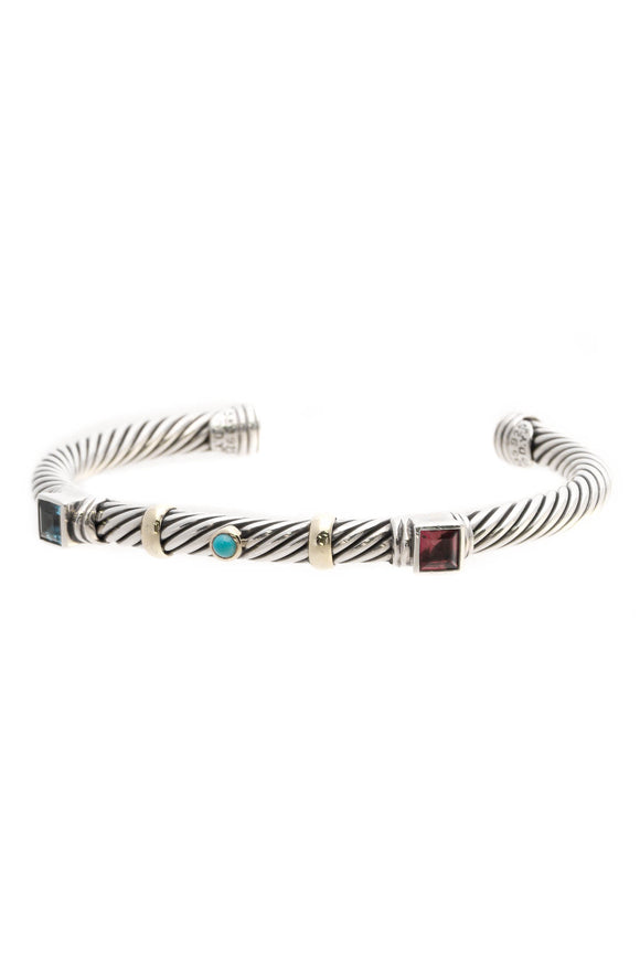 David Yurman 5mm Renaissance Cuff Bracelet - Silver/Gold