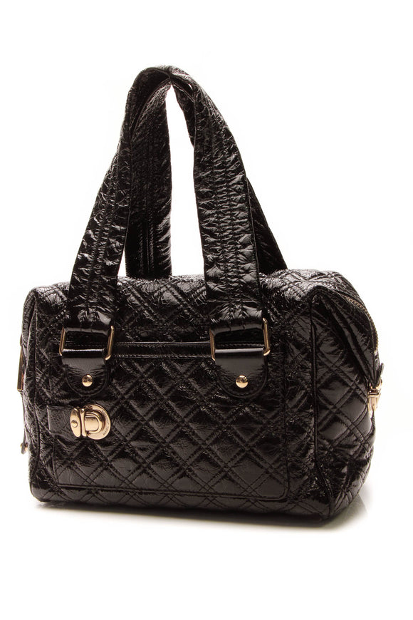 Marc Jacobs Quilted Top Handle Bag - Black Patent