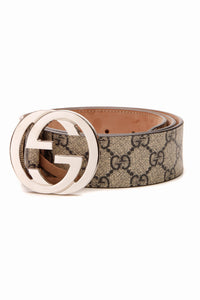 Gucci Interlocking G Buckle Belt - Navy Supreme Canvas Size 36