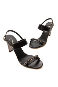 Chanel Chain Heeled Sandals - Black Size 39