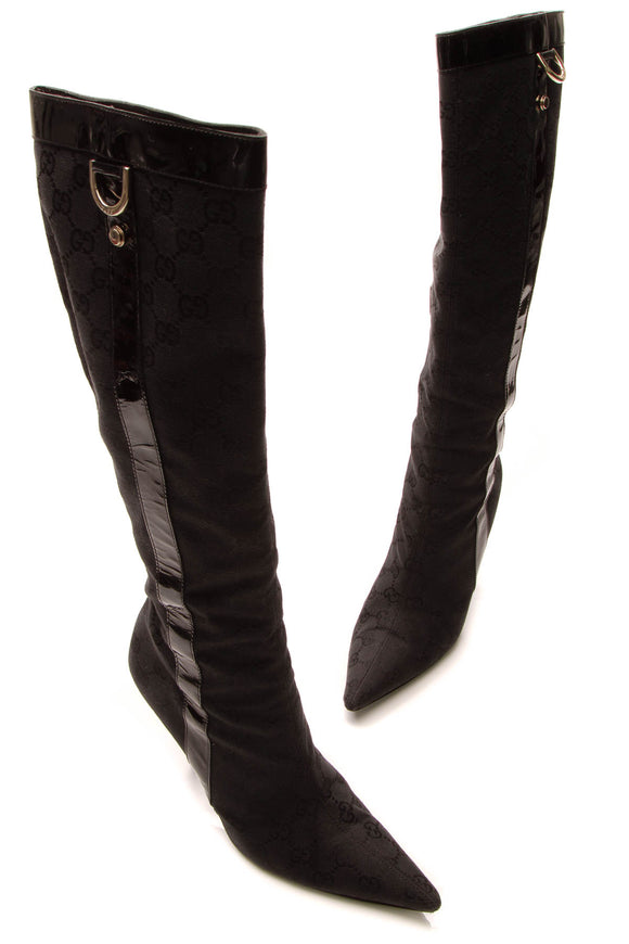 Gucci Tall Pointed-Toe Boots - Black Signature Canvas Size 7.5