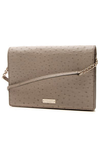 Kate Spade Embossed Ostrich Shoulder Bag - Taupe