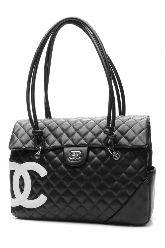 Chanel Cambon Ligne Flap Large Tote Bag - Black