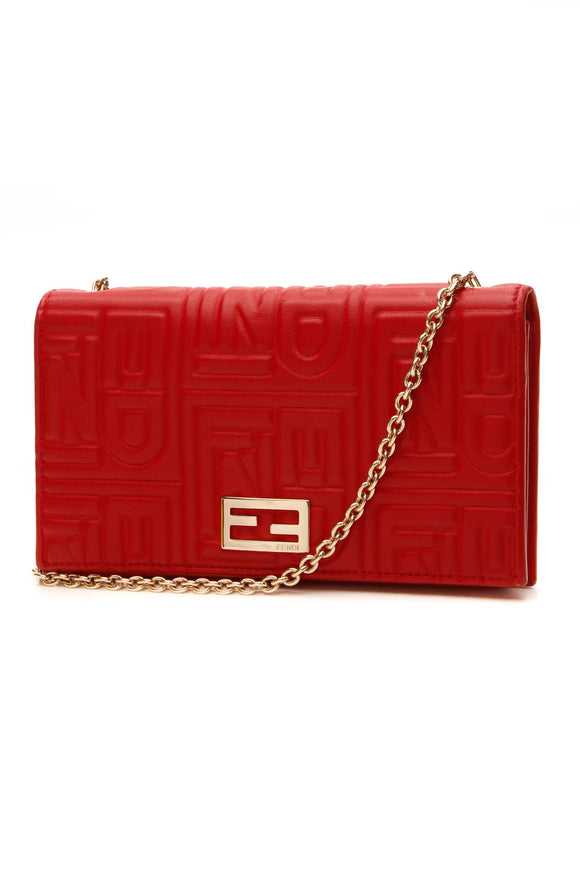 Fendi Logo Embossed WOC Bag - Red