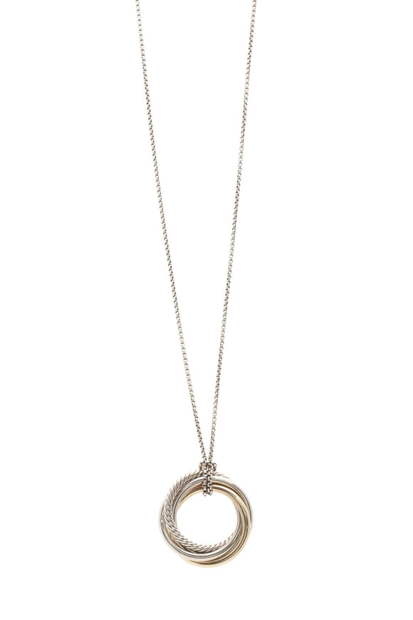 David Yurman Crossover Collection Pendant Necklace - Silver/Gold