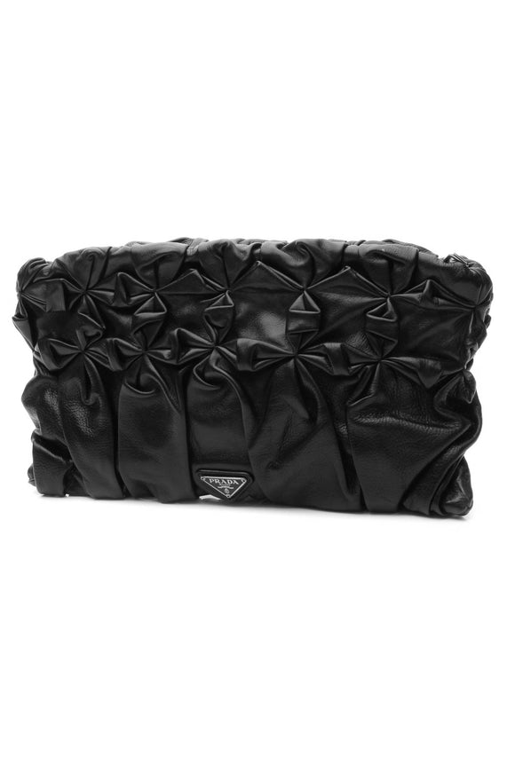 Prada Ruched Clutch Bag - Black