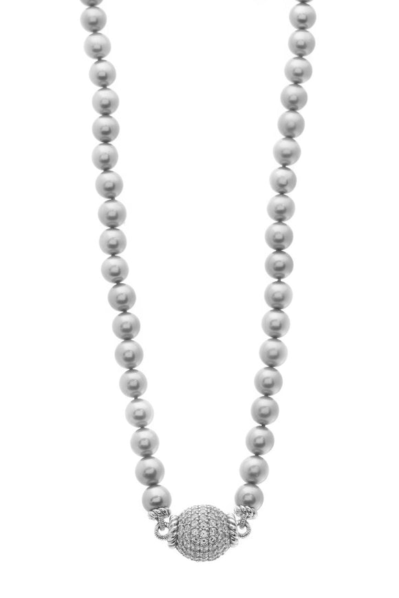 Judith Ripka Gray Pearl Necklace Silver