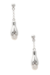 Tiffany & Co. Iridesse Sculpted Pearl Drop Earrings Silver