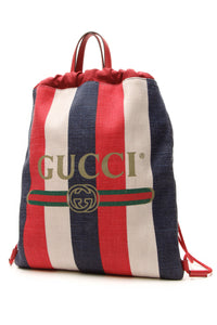Gucci Sylvie Stripe Drawstring Backpack - Multicolor