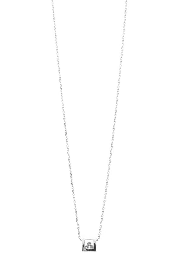 Chopard Diamond Happy Curves Square Necklace - White Gold
