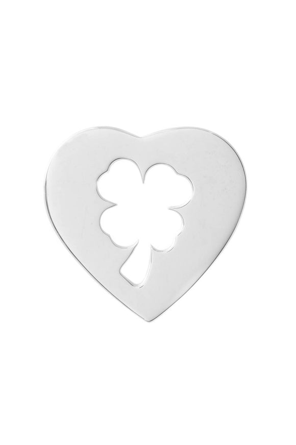 Chanel Heart Clover Pendant - White Gold