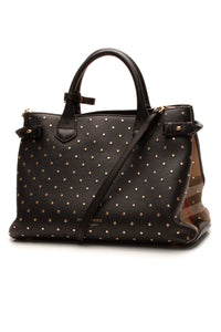 Burberry Studded Banner Tote Bag - Black/House Check