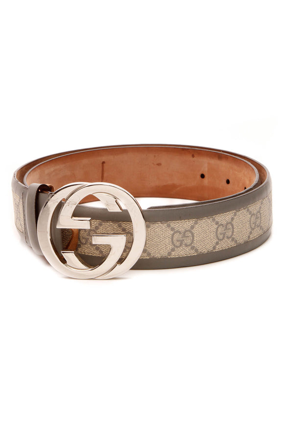 Gucci Interlocking G Belt - Gray Supreme Canvas Size 36