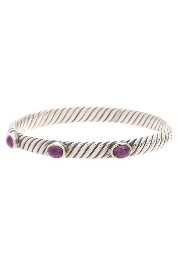 David Yurman Amethyst Renaissance Bangle Bracelet Silver Gold