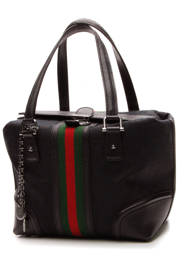 Gucci Treasure Small Boston Bag - Black Signature Canvas
