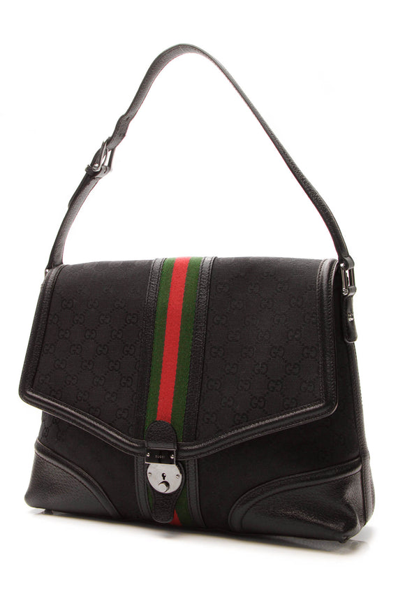 Gucci Web Treasure Shoulder Bag - Black Signature Canvas