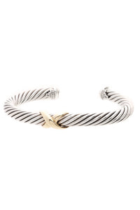 David Yurman 7mm Crossover X Cable Cuff Bracelet - Silver/Gold