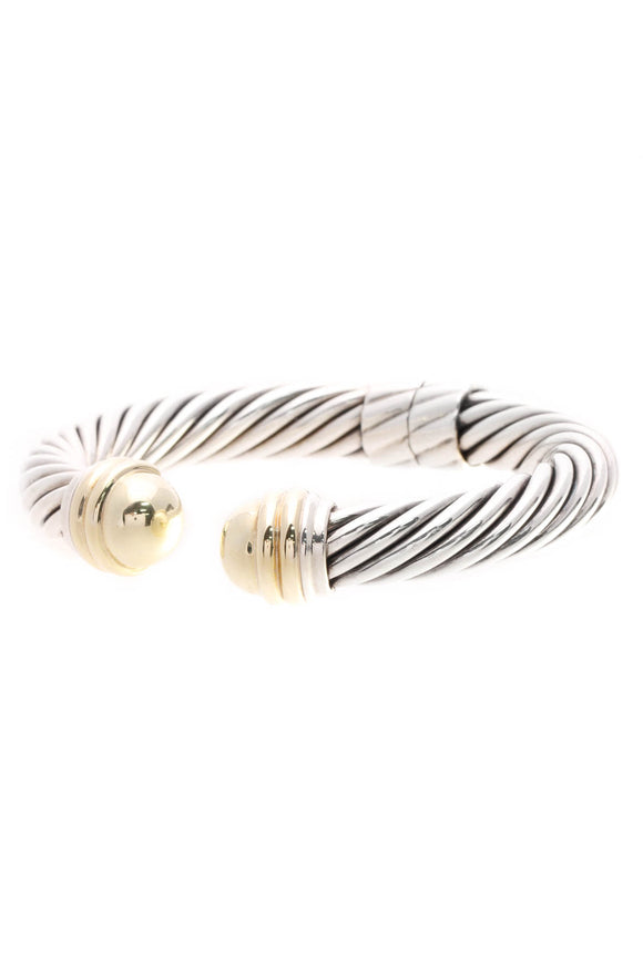 David Yurman 10mm Cable Classics Dome Bracelet - Silver/Gold