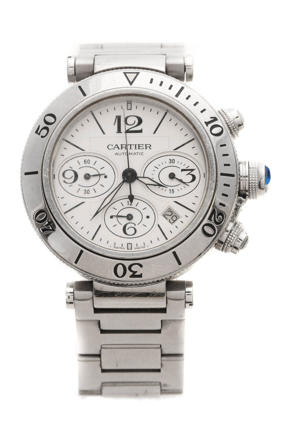 Cartier Pasha Seatimer Chronograph Watch - Steel