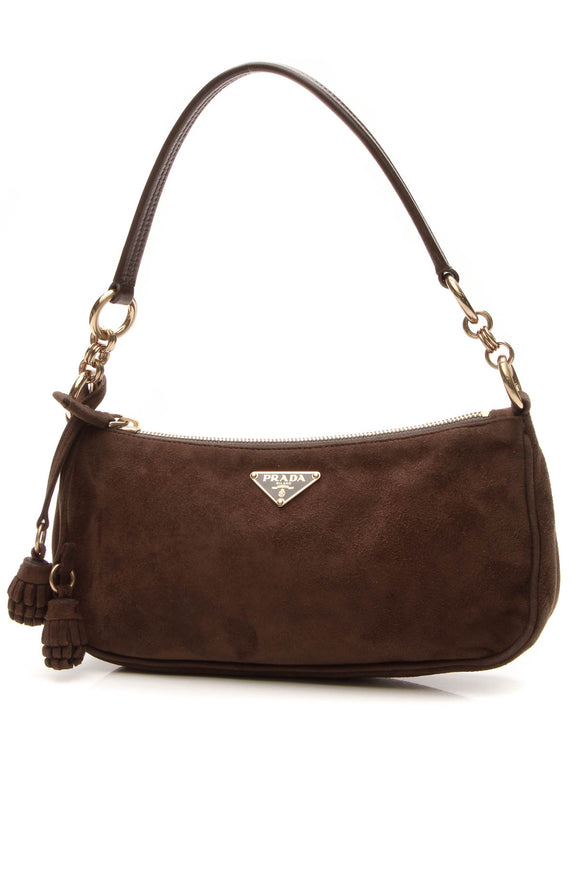 Prada Tassel Pochette Bag - Brown