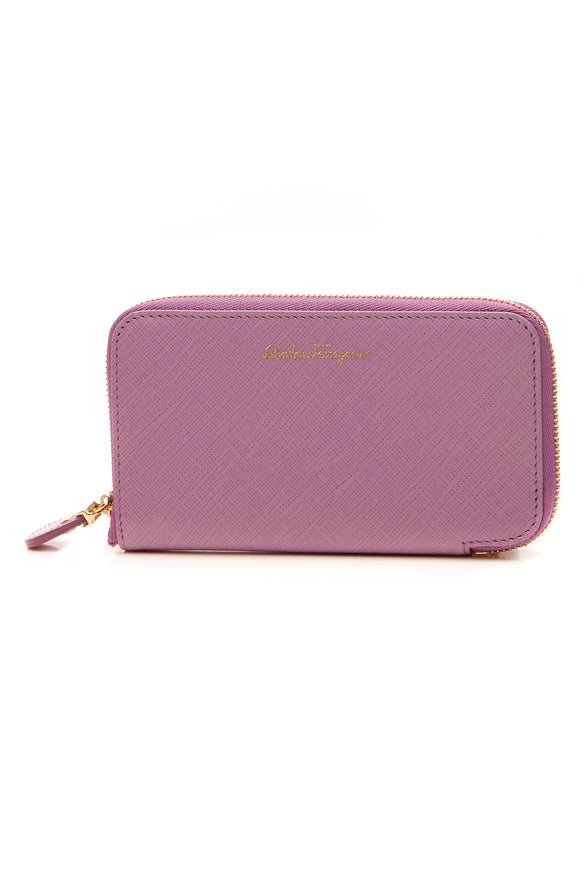Salvatore Ferragamo Compact Zip Around Wallet - Lilac