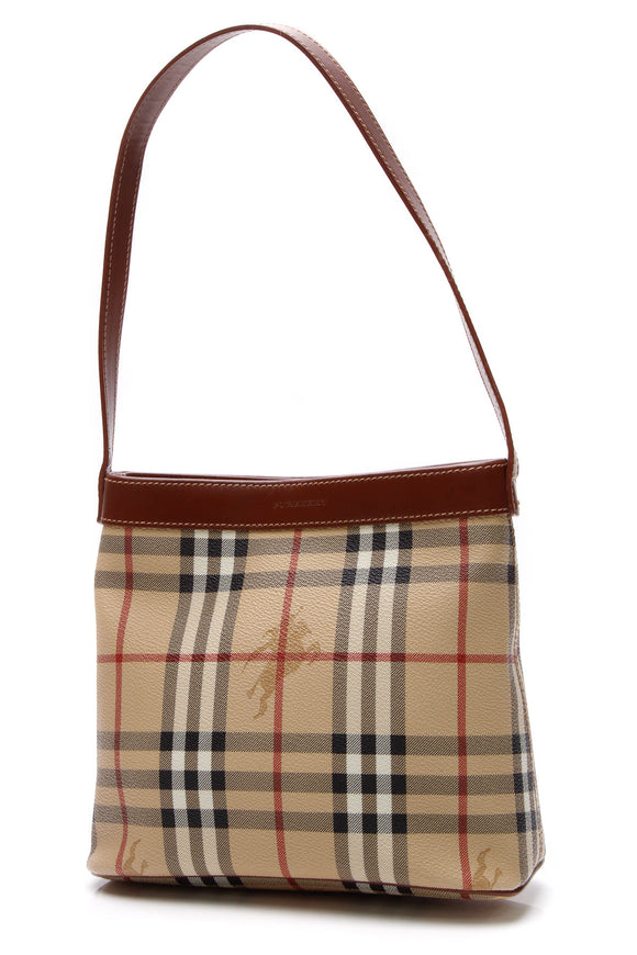 Burberry Small Shoulder Bag - Haymarket Check/Brown