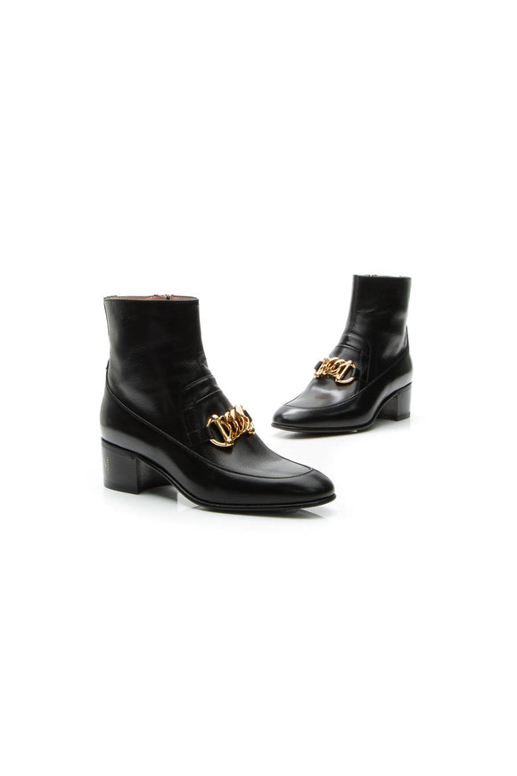 Gucci 'KITTEN' Horsebit Chain Boots - Black Size 36