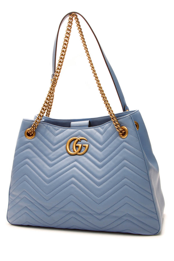 Gucci Marmont Medium Shoulder Tote Bag - Blue